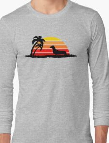 Dachshund on Sunset Beach Long Sleeve T-Shirt