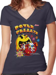 Power Pellets Women's Fitted V-Neck T-Shirt