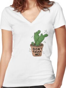 Don't Touch Me! Women's Fitted V-Neck T-Shirt