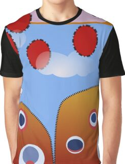 Red, Blue, Orange  Cartoon Hill and Sky Graphic T-Shirt