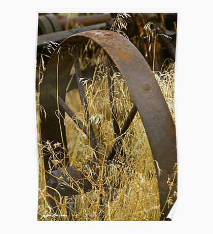 Rusty Old Wheel and Yellow Grasses Poster