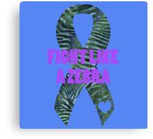 Fight Like a Zebra - Green Canvas Print