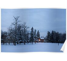 Snow, Stillness and Warm House Lights Poster