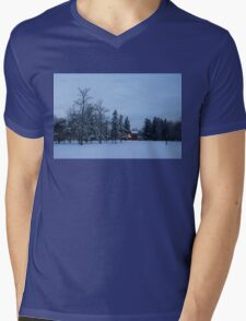 Snow, Stillness and Warm House Lights Mens V-Neck T-Shirt