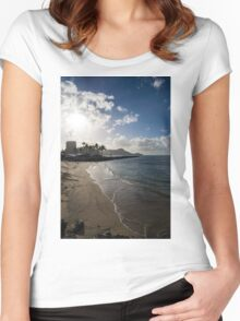 Sun, Sand and Waves - Waikiki, Honolulu, Hawaii Women's Fitted Scoop T-Shirt