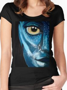 Blue oil pastel inspired by Avatar Women's Fitted Scoop T-Shirt