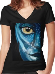 Blue oil pastel inspired by Avatar Women's Fitted V-Neck T-Shirt