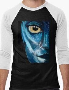 Blue oil pastel inspired by Avatar Men's Baseball ¾ T-Shirt