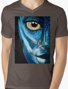 Blue oil pastel inspired by Avatar Mens V-Neck T-Shirt