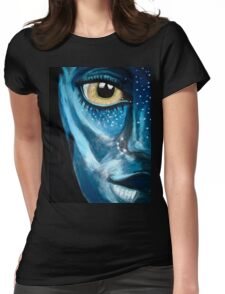 Blue oil pastel inspired by Avatar Womens Fitted T-Shirt