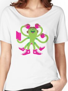 Crazy green alien girl with coffee cups, sneakers and a book. Women's Relaxed Fit T-Shirt