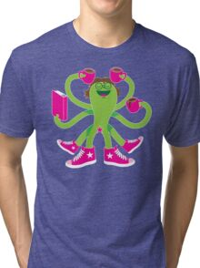 Crazy green alien girl with coffee cups, sneakers and a book. Tri-blend T-Shirt