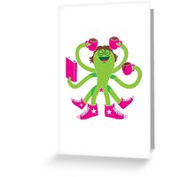 Crazy green alien girl with coffee cups, sneakers and a book. Greeting Card