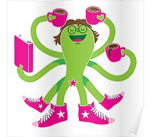 Crazy green alien girl with coffee cups, sneakers and a book. Poster
