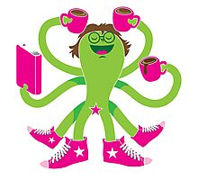 Crazy green alien girl with coffee cups, sneakers and a book. Photographic Print