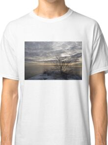 Early Morning Tree Silhouette on Silver Sky Classic T-Shirt