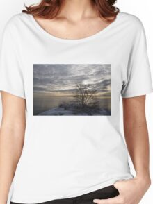Early Morning Tree Silhouette on Silver Sky Women's Relaxed Fit T-Shirt