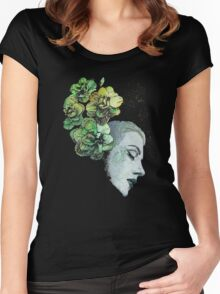 Obey Me - girl with flowers Women's Fitted Scoop T-Shirt
