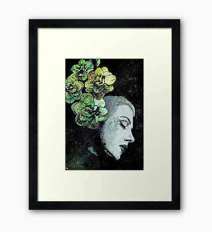 Obey Me - girl with flowers Framed Print
