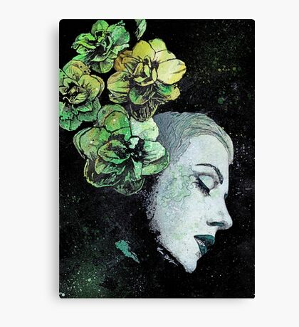Obey Me - girl with flowers Canvas Print