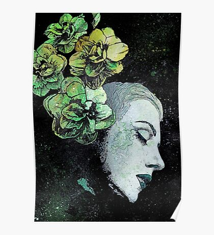 Obey Me - girl with flowers Poster