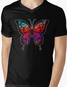 Psychedelic Butterfly Mens V-Neck T-Shirt