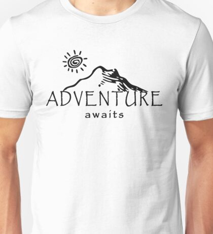 Adventure Awaits - Mountain and Sun ( Dark Version)  Unisex T-Shirt