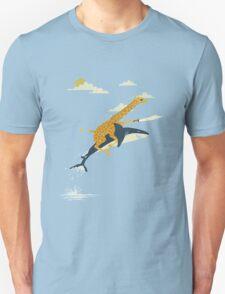 Giraffe riding shark Unisex T-Shirt