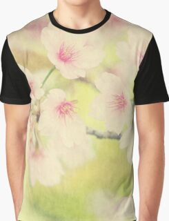 Dreamy Faded Vintage Pale Pink Sakura Cherry Blossoms Graphic T-Shirt