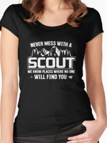 NEVER MESS WITH A SCOUT Women's Fitted Scoop T-Shirt
