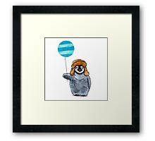 Penguin & Balloon Framed Print