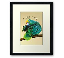 I see you. Sly Parrot Photo Framed Print