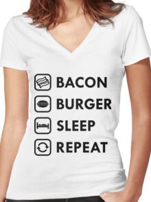 Bacon Burger Sleep Repeat Women's Fitted V-Neck T-Shirt