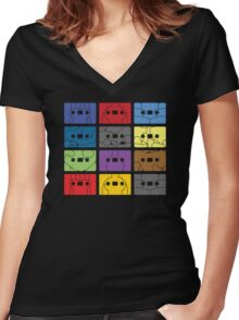 Something About My Cassettes Women's Fitted V-Neck T-Shirt