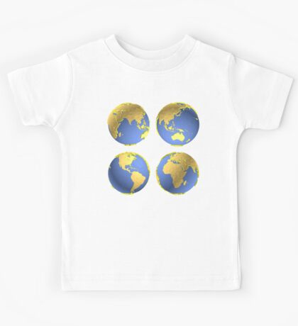 three-dimensional model of the planet earth Kids Tee