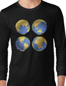 three-dimensional model of the planet earth Long Sleeve T-Shirt