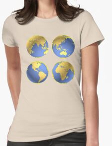 three-dimensional model of the planet earth Womens Fitted T-Shirt