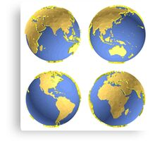 three-dimensional model of the planet earth Canvas Print