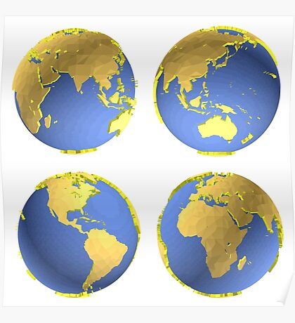 three-dimensional model of the planet earth Poster