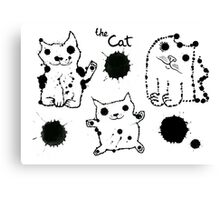 Funny cute ink splashes cats. Canvas Print