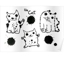 Funny cute ink splashes cats. Poster