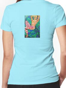 Gorgeous, decorative, blond man, half naked Women's Fitted V-Neck T-Shirt