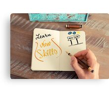 Handwritten text LEARN NEW SKILLS Canvas Print