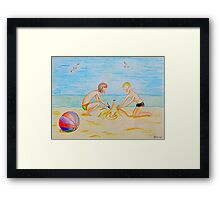 Children on the beach Framed Print