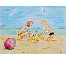 Children on the beach Photographic Print
