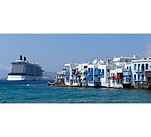 Anchored in Mykonos Photographic Print