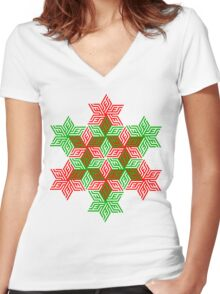 Snow Flake  Women's Fitted V-Neck T-Shirt
