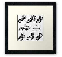 Bulldozer. Eight 3D projection vector. Framed Print