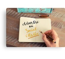 Handwritten text ADVERTISE ON SOCIAL MEDIA Canvas Print