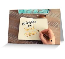 Handwritten text ADVERTISE ON SOCIAL MEDIA Greeting Card